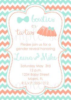 Chevron Gender Reveal Invitation, bow tie and tutu invitation, coral and blue invite, gender reveal invite, modern gender reveal invitation by LoveLifeInvites on Etsy https://www.etsy.com/listing/183705119/chevron-gender-reveal-invitation-bow-tie