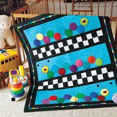 Caterpillars: Bright Primary Colors Baby/Kid's Lap Quilt Pattern