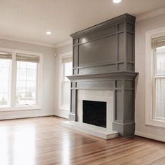 Such a pretty living room design. Lots of natural light from the windows. Grey fireplace with molding. Home design decor inspiration ideas. Paint Fireplace, Home Fireplace, Fireplace Remodel, Fireplace Surrounds, Fireplace Design, Fireplace Ideas, Craftsman Fireplace, Grey Fireplace, Fireplace Molding