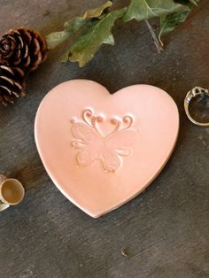 Butterfly Heart Jewelry Dish Wedding Ceramic Ring by Ceraminic