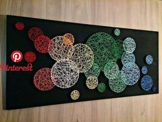 I wonder if you could do something like this on a bigger scale on a wall? I wonder if you could do something like this on a bigger scale on a wall? String artwork for the office, but with pentagon shapes. Love this rainbow string art But more geometric, l Nail String Art, String Crafts, String Wall Art, Diy Wall Art, Diy Art, Crafts To Do, Arts And Crafts, String Art Patterns, Doily Patterns