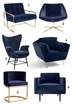 Looking for the perfect blue marine inspired home? Here is a collection of useful and inspirational ideas to decorate your home interior and impress your friends with a relaxing and calming setup. Sofa Design, Interior Design, Living Room Chairs, Living Room Decor, New Furniture, Furniture Design, Blue Armchair, Velvet Armchair, Living Room Designs