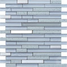 White Quartz Strip Pattern Glass and Marble Mosaic Tile #white_strip_mosaic_tile #glass_marble_mosaic_tile