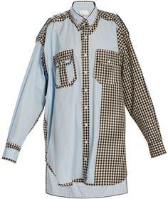 Maison Margiela Oversized gingham checked-trim cotton shirtdress Gingham  Check 725a5af27de4
