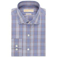 Michael Michael Kors Non-Iron Blue and Brown Multi Plaid Dress Shirt (8520 RSD) ❤ liked on Polyvore featuring men's fashion, men's clothing, men's shirts, men's dress shirts and bright blue