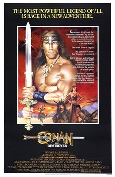 This was one of the original posters for the film - CONAN THE DESTROYER (1984) - which we reviewed on our podcast this week - May 4th 2016 - you can listen at Sound Cloud https://soundcloud.com/arniethology