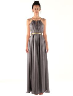 Bridesmaids could have any color, same styles and materials will blend?  Miss Mint Women's Open Back Halter Key Hole Bridesmaid Dress Long (14, Charcoal Gray)