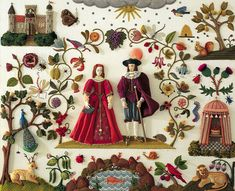 Stumpwork embroidery, a 3D embroidery style popular in the 17th century. This is a modern composition from Jane Nicholas' bookStumpwork Embroidery.