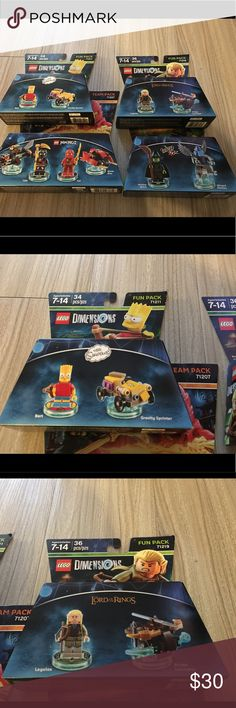Lego dimensions 4pc lot fun pack team pack NIP Thank you for viewing my listing, for sale is a four piece lot, of Lego dimensions. Three fun packs, one team pack. These are brand-new in the package. If you have any questions or would like additional photos please feel free to ask  You will receive: Lord of the rings number 71219 Wizard of Oz number 71221  Bart Simpson number 71211 Ninjago Number 71207 Lego Accessories