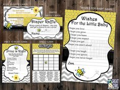 Bumble Bee Baby Shower Party Package Diaper by GreatOwlCreations