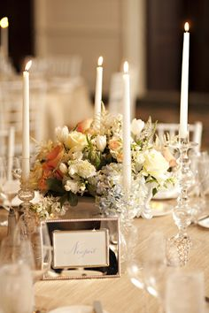 Yellow-Peach-Rose-Taper-Candle-Centerpiece