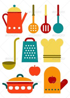 Buy Colorful Kitchen Utensil Set by nikolae on GraphicRiver. Colorful kitchen utensil set isolated on white background Eat Kitchen Sign, Kitchen Utensil Set, Kitchen Art, Kitchen Colors, Kitchen Decor, Diy And Crafts, Crafts For Kids, Paper Crafts, Bunting Template