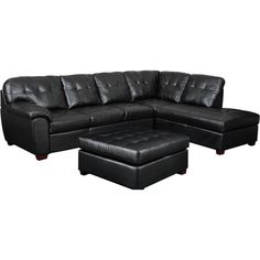 Calvin 3pc Sectional in Black