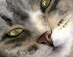 by Mary Gibbs Watercolor Cat, Watercolor Animals, Watercolor Paintings, Cat Paintings, Watercolor Ideas, Watercolor Portraits, Watercolors, Fusion Art, Realistic Paintings