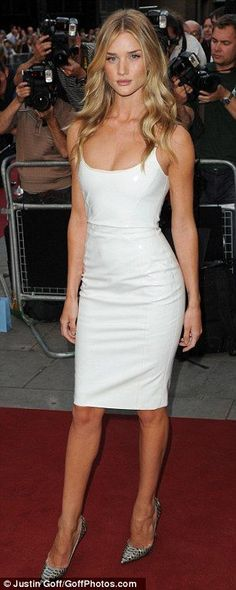 Rosie Huntington-Whiteley in a Versace white leather dress and Christian Louboutin snakeskin pumps @ 2013 GQ Men Of The Year Awards
