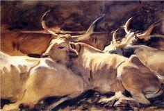 Oxen in Repose - John Singer Sargent, c.1910