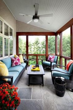Contemporary Porch with exterior stone floors, Legends of Asia Black Ceramic Garden Stool, Ceiling fan, Screened porch