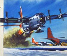 Hercules at the South Pole (Original) (Signed) art by Wilf Hardy at The Illustration Art Gallery | A Lockheed Hercules transport plane takes off from the American base at the South Pole using ski fittings.