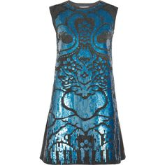 Alberta Ferretti Sequined wool and cashmere-blend dress (€500) ❤ liked on Polyvore featuring dresses, vestidos, short dresses, blue dresses, mini dress, short sequin dress, short loose dresses, blue mini dress and sequin cocktail dresses