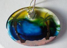 Glass palm tree pendant by silversunstudiobiz on Etsy, $8.00