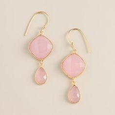 Gold and Rose Quartz Double Drop Earrings | World Market