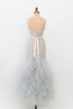 - Overview - To Purchase - Contract - DESCRIPTION: Soft blue Marchesa strapless gown with nude lining and features pleated tulle throughout bodice, layered ruffled skirt and concealed zip closure at c Engagement Photo Dress, Dress Rental, Strapless Gown, Mermaid Gown, Marchesa, Bodice, Light Blue, Tulle, Fancy