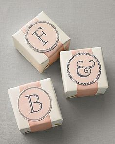 Whether you're keeping your maiden name or not, these  monograms will have you putting your initial everywhere! They can be used as stickers or as a sweet card for the wedding favors.  Source: Martha Stewart Weddings