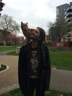 Bob & James enjoys the London spring time   - from FB page James Bowen & Street Cat Bob