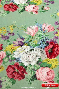 Vintage Home Shop - The Most Beautiful Vintage Floral Sanderson Fabric: www.vintage-home. Papel Vintage, Vintage Floral Fabric, Vintage Textiles, Vintage Colors, Vintage Flowers, Sanderson Fabric, Chintz Fabric, Fabric Wallpaper, Retro Wallpaper