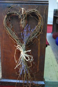 rustic heart pew ends / aisle decor
