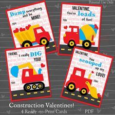 Construction Truck Valentines Boy's Builder by songinmyheart