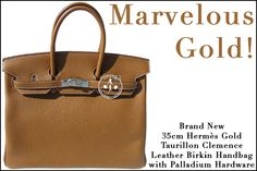 35cm Hermès Gold Taurillon Clemence Leather Birkin Handbag with Palladium Hardware - Marvelous Gold!