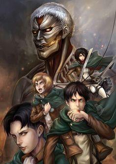 Attack On Titan / Shingeki No Kyojin // Levi Ackerman || Eren Jeager || Mikasa Ackerman || Armin Atlert || Colossal Titan / Reiner Braun