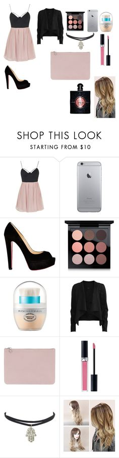 """""""Party"""" by antogentil1 ❤ liked on Polyvore featuring Topshop, Christian Louboutin, MAC Cosmetics, Physicians Formula, VILA, Alexander McQueen, Christian Dior and Yves Saint Laurent"""