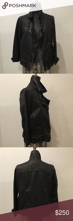 All Saints Coated Denim Boyfriend Moto Jacket 3/4 sleeve relaxed fit All Saint denim jacket with Moto details. Great, like new condition. Fits like a true small All Saints Jackets & Coats Jean Jackets