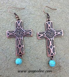 Save 10% by using the discount code GUGREPKCAR at www.gugonline.com now! Navajo Stamped Copper Cross Earrings with Turquoise Bead