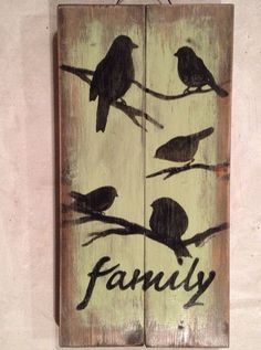 FAMILY BIRD Pallet Sign Pallet Art Primitive Rustic Country Picture Wall Decor