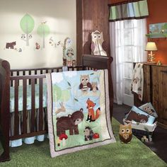 Nursery Baby Bedding Set of Crib Fitted Sheet Dust Ruffle and Pillow Case Orange Infinity 4 Piece Forest Animals Crib Bedding Sets for Boys and Girls for Standard Size Crib Crib Quilt