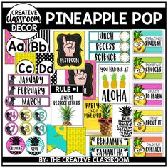 Pineapple Classroom DcorCreate a colorful and SWEET classroom environment with Pineapple Pop Classroom Dcor. This dcor set is perfect for any grade level teacher wanting to create a fun and inviting classroom for students. Creative Classroom Dcor sets include everything you need and more to set up the perfect classroom theme!