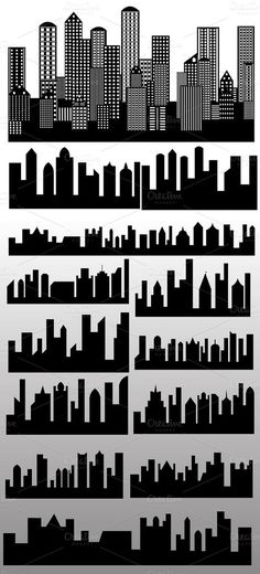 Shape-Skylines Buildings Silhouettes Vecto ~ Illustrations on Creative Market Building Silhouette, Silhouette Vector, Skyline Silhouette, Superhero Room, Superhero Birthday Party, Superhero Backdrop, Godzilla Birthday Party, Superhero Cake, Anniversaire Wonder Woman