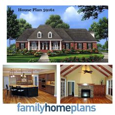House Plan 59161   Total living area: 2755 sq. ft.  This traditional country home includes an open floor plan with 4 spacious bedrooms, 3 1/2 baths, a split-bedroom layout, and other unique features.