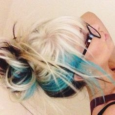 This is a great color combo too! Black under, blonde on top, turquoise in between that you can really only see when you wear it up! ♥