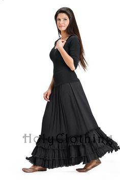 Esmeralda Victorian Tiered Ruffles Gothic Elastic Waist Skirt 4X 5X - 4X / 5X - Shop by Size - Skirts