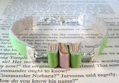 Miniature Book Bracelet Stack of 3 Mini Books Green Ostrich Embossed Leather Bracelet by JanDaJewelry, $40.00
