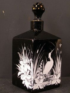 1800'S Victorian Black Glass Mary Gregory Perfume Bottle Cologne Enamel Bohemian