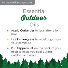 Essential Outdoor Oils. After a long hike try applying coriander to the back of your legs. Lemongrass can repel bugs and peppermint on the back of your neck will keep you cool. www.hayleyhobson.com