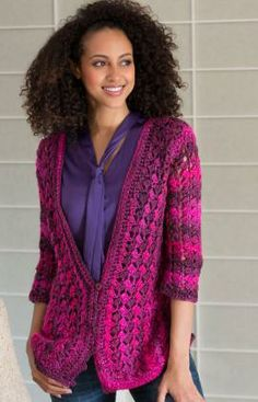 Lacy Cardigan Free Crochet Pattern from Red Heart Yarns