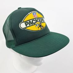 b5cbd8fffec Green Bay Packers Snapback Hat Cap Vintage 80s Drew Pearson Trucker Mesh  Foam