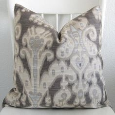 Suzie: Pillows - Decorative pillow cover Throw pillow Ikat by chicdecorpillows - gray, ikat, pillow