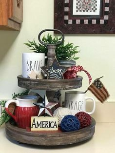 24 July Tiered Tray decoration ideas to glam up your home in Patriotic Spiri. 24 July Tiered Tray decoration ideas to glam up your home in Patriotic Spirit - Hike n Dip Fourth Of July Decor, 4th Of July Decorations, July 4th, Table Decorations, Centerpieces, Kitchen Tray, Seasonal Decor, Holiday Decor, Tray Styling